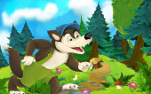 Cartoon-Märchenszene mit Wolf auf der Wiese - Illustration für Kinder