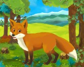 Photo cartoon scene with happy and funny fox in the forest - illustration for children