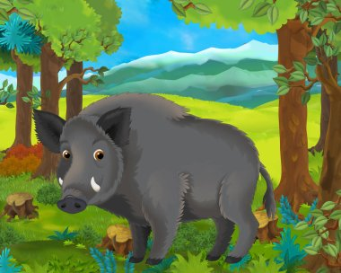 Cartoon animal scene with boar in the forest - illustration for children stock vector