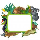 Zeichentrickszene mit Naturrahmen und Tieren - Illustration für Kinder