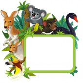 cartoon scene with nature frame and animals - illustration for children