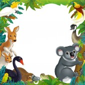 Photo cartoon scene with nature frame and animals - illustration for children