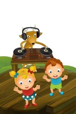cartoon scene with deer dj and kids dancing - illustration for children