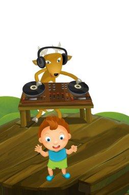 cartoon scene with deer dj and kid dancing - illustration for children