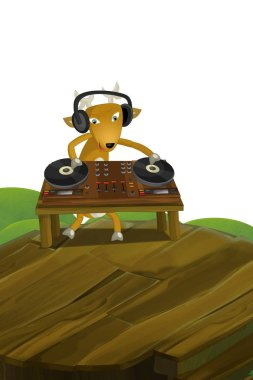 cartoon scene with happy dj deer playing on turn tables on white background - illustration for children