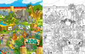 Cartoon zoo scene with sketch amusement park illustration for children