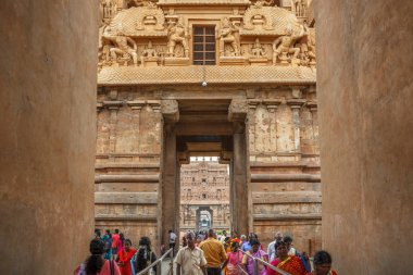 Entrance of Brihadeeswarar or Brihadisvara Temple in Thanjavur.Hindu temple dedicated to Shiva located in Tamilnadu India.UNESCO World Heritage Site January 20 2019