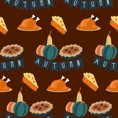 Thanksgiving pie and turkey in a. vector seamless pattern