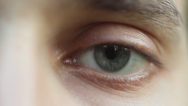 blikání mužského oka se rozhlédl. červená tepna na oční bulvy. zornice reaguje na světlo. Mioz a midriaz. zavření a otevření víčka