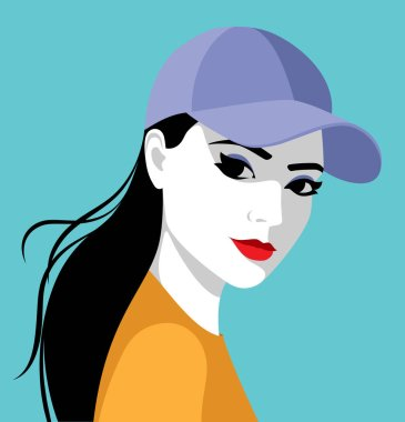 Beautiful young woman with long black hair wearing baseball cap, simple vector illustration