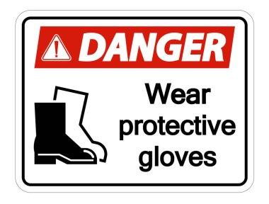 Danger Wear protective footwear sign on transparent background,vector illustration