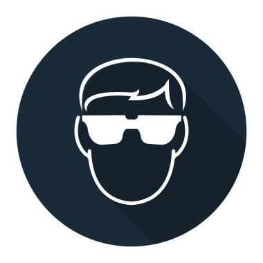 Symbol Wear Safety Glassed on black background,Vector illustration stock vector