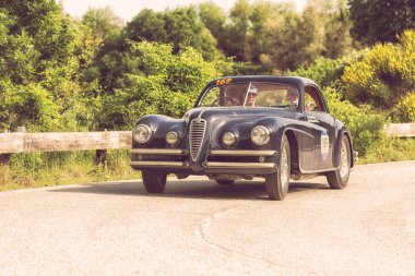 PESARO COLLE SAN BARTOLO , ITALY - MAY 17 - 2018 : ALFA ROMEO 6C 2500 SS COUPE' TOURING1949 on an old racing car in rally Mille Miglia 2018 the famous italian historical race (1927-1957)