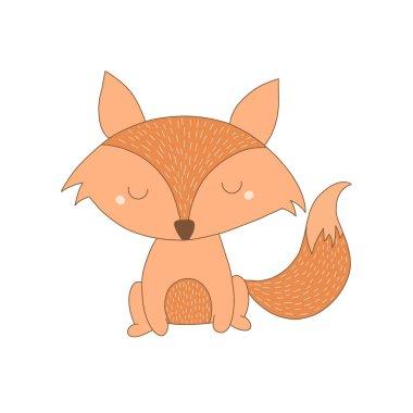 Cute Fox Illustration. Hand drawn cartoon Fox illustration. Woodland Animals.
