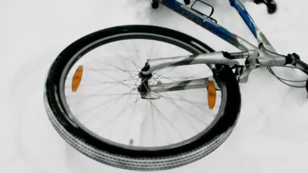 On this video you can see a bicycle wheel. Close up of a wheel of the bicycle. The bicycle in the winter wood lies on one side.