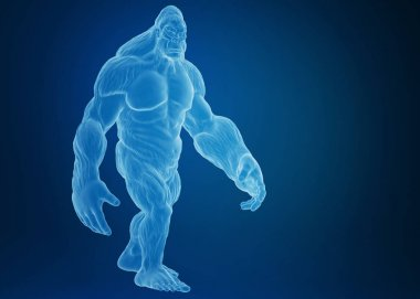 3d rendering of a gorilla body, blue background