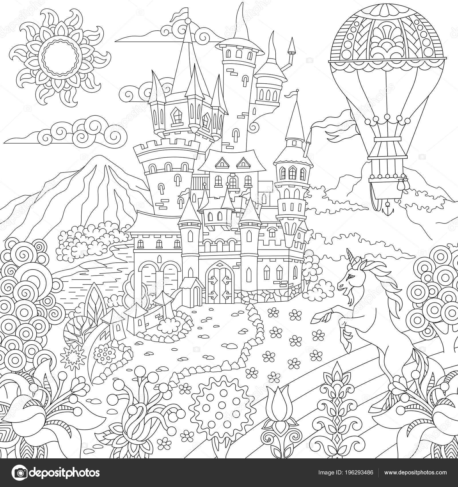 Dibujos Paisaje Con Castillo Para Colorear Concepto Cuento Hadas