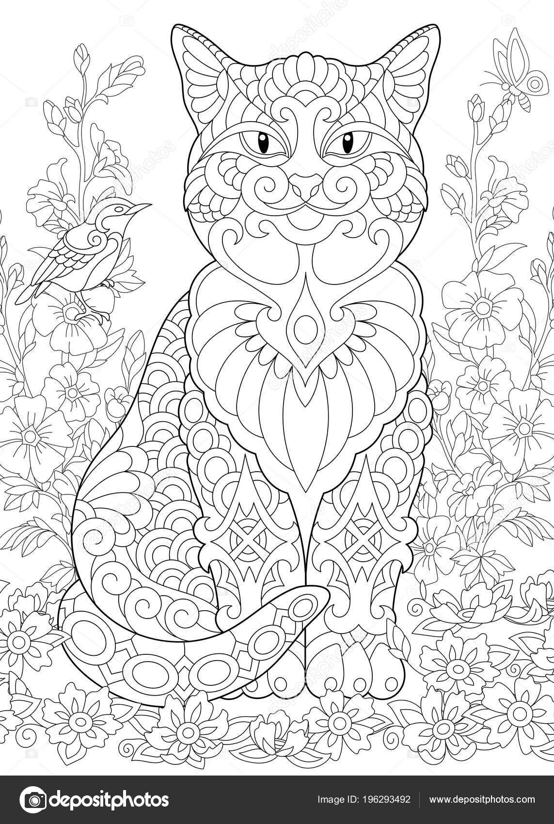 Kedi Bahar Bahçe Boyama Sayfası Yetişkin Renklendirme Kitap Fikir