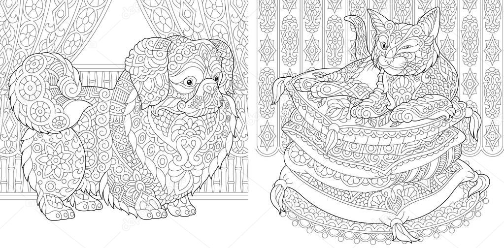 Coloring Pages Cat On Pillows Pekingese Or Japanese Chin Dog Adult Coloring Book Idea Antistress Freehand Sketch Drawing With Doodle And Zentangle Elements Vector Illustration 196626158 Larastock