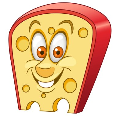 Swiss Cheese. Triangle piece of cheese with holes.