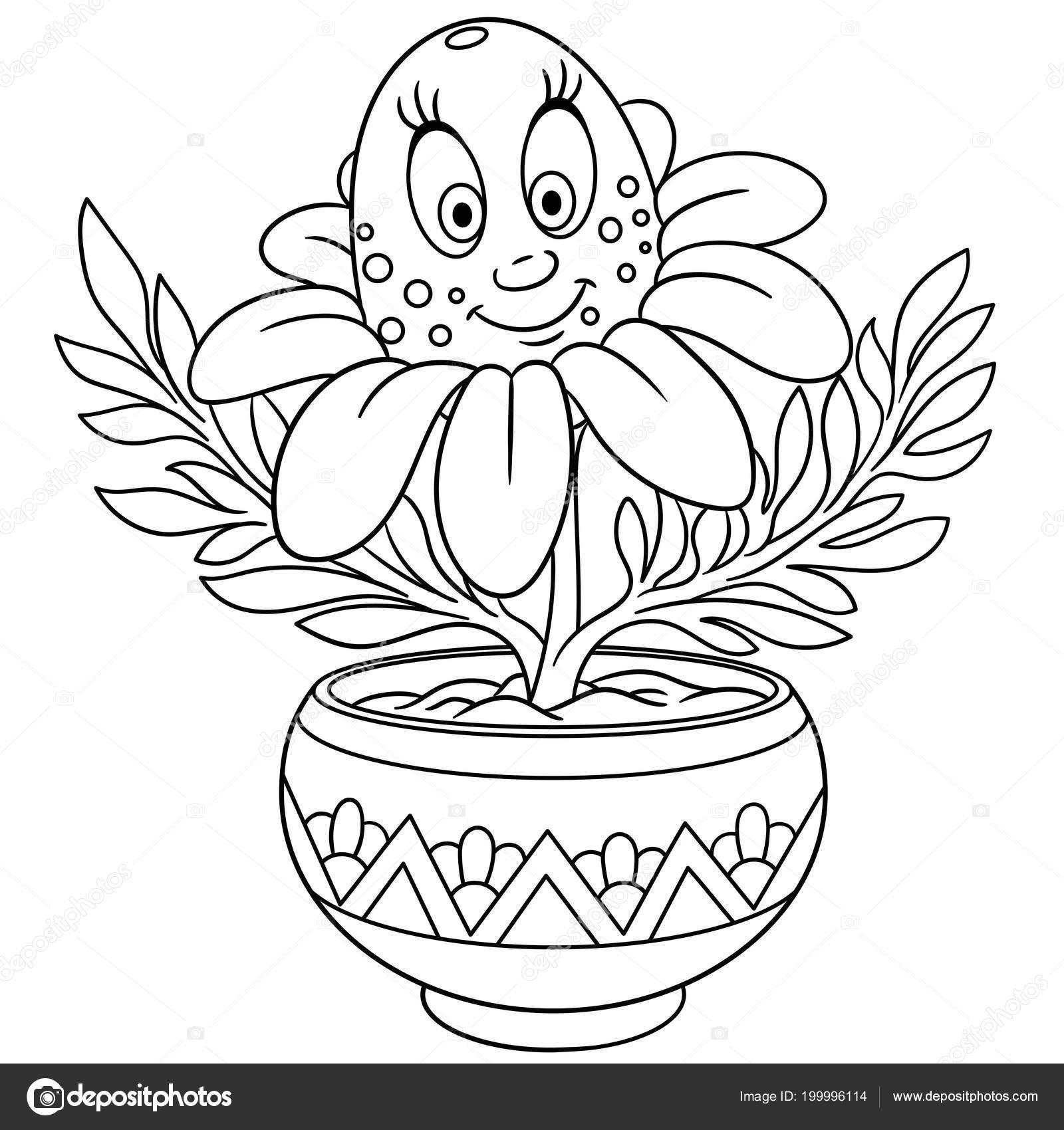 Daisy Papatya çiçeği Bir Tencerede Boyama Sayfası Boyama Resim