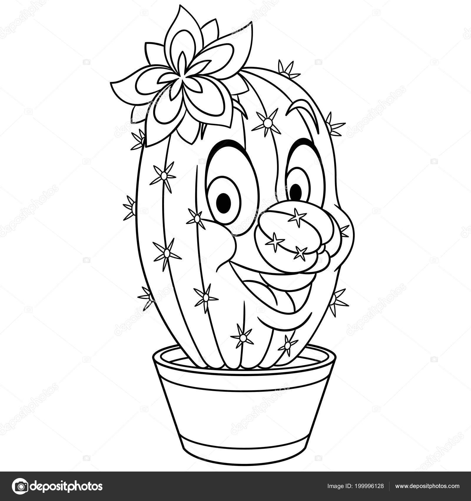 cactus cactussen bloem een pot kleurplaat kleuren foto