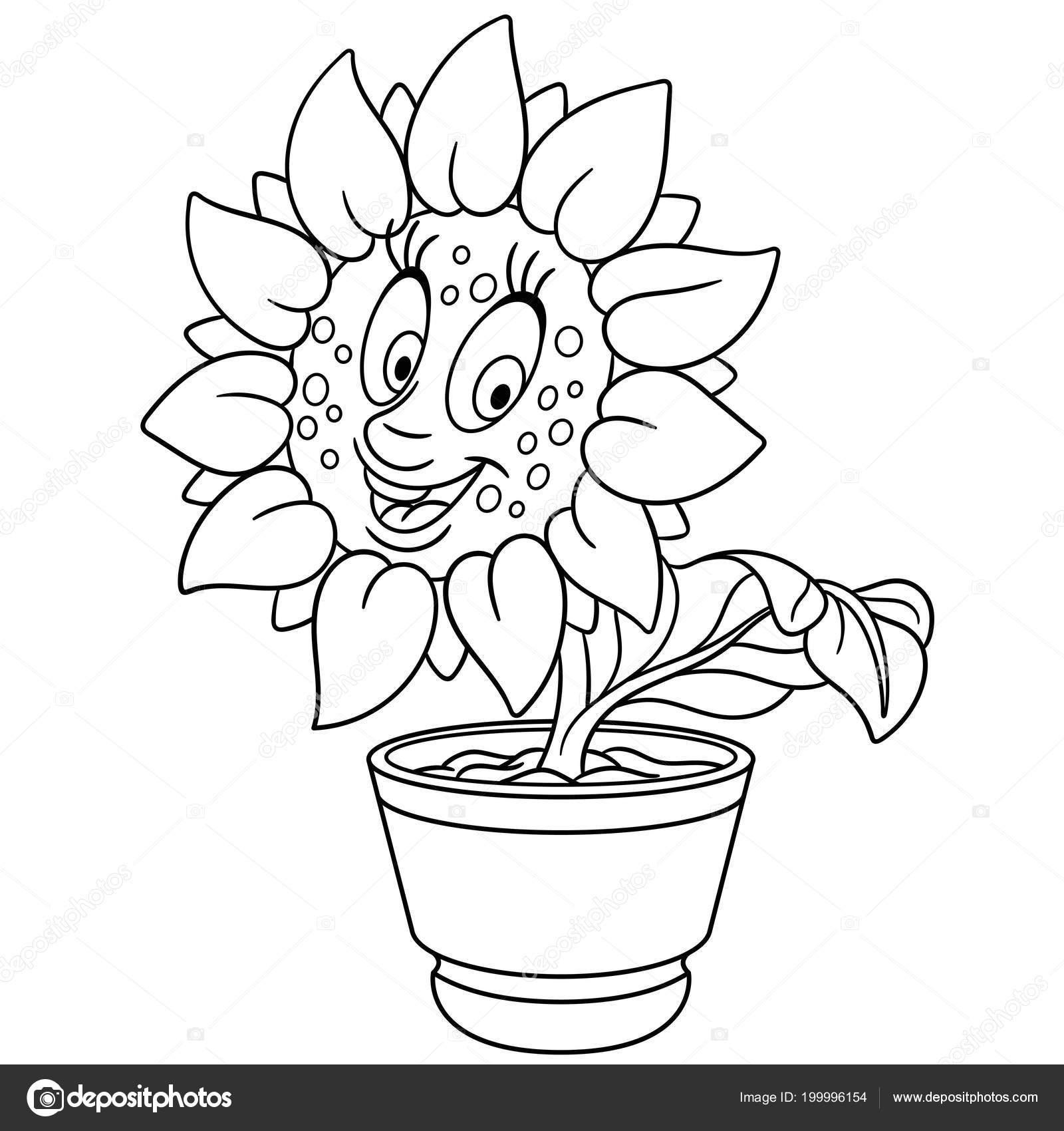 kleurplaat bloempot