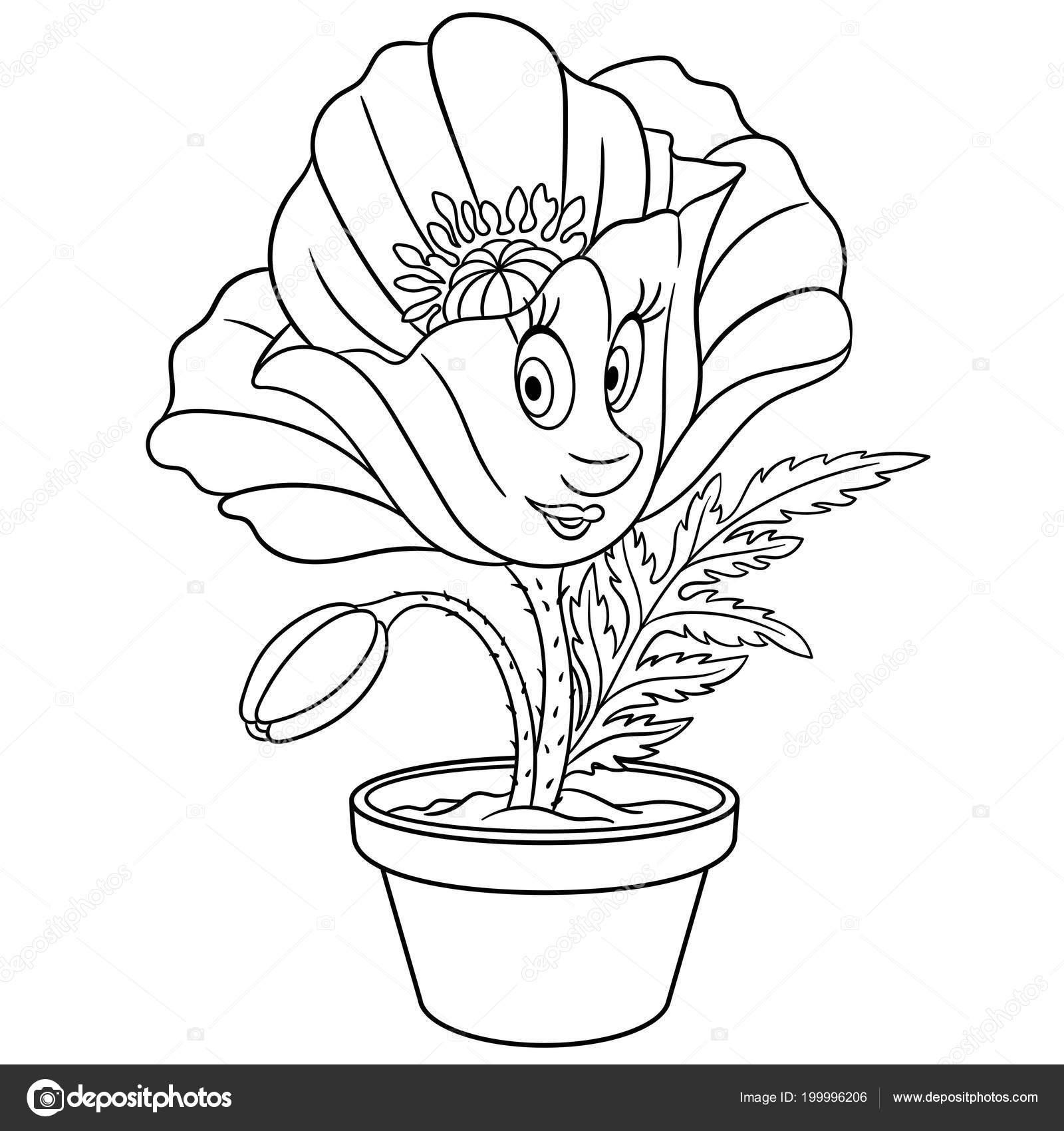 klaproos bloem een pot kleurplaat kleuren foto kleurboek