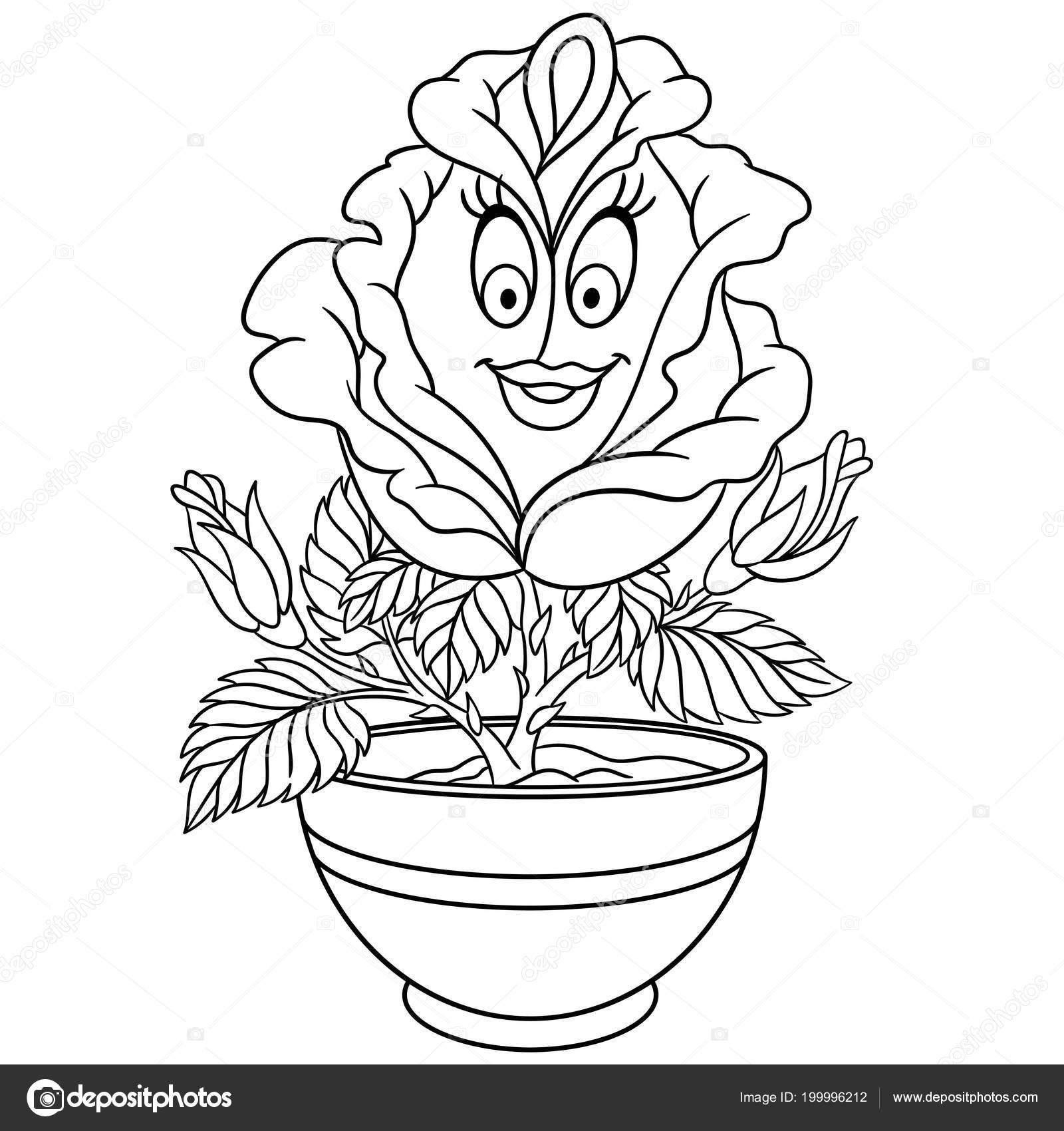 Gül çiçek Bir Tencerede Boyama Sayfası Boyama Resim Boyama Kitabı