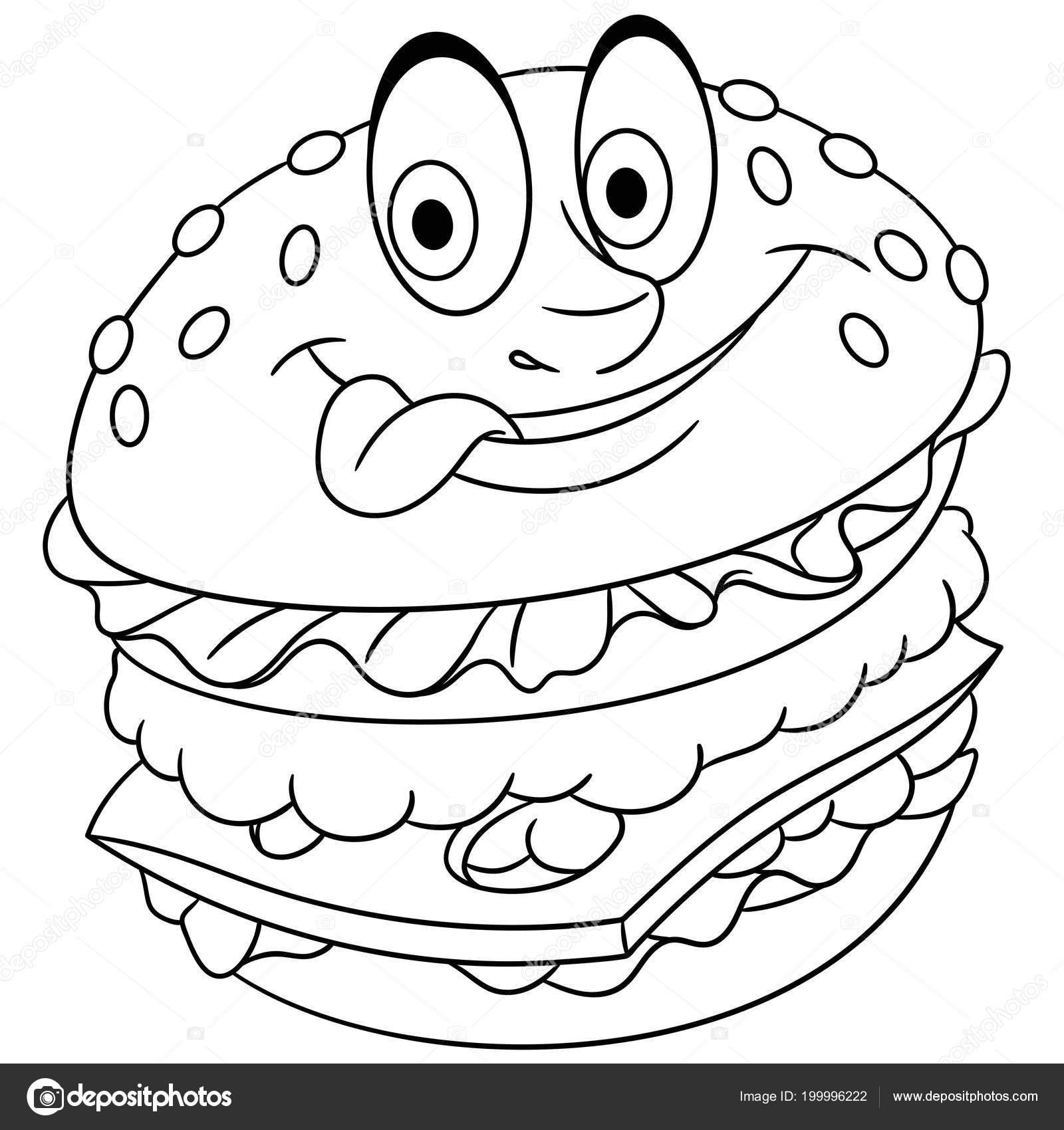 Burger Hamburger çizburger Boyama Sayfası Boyama Resim Boyama Kitabı