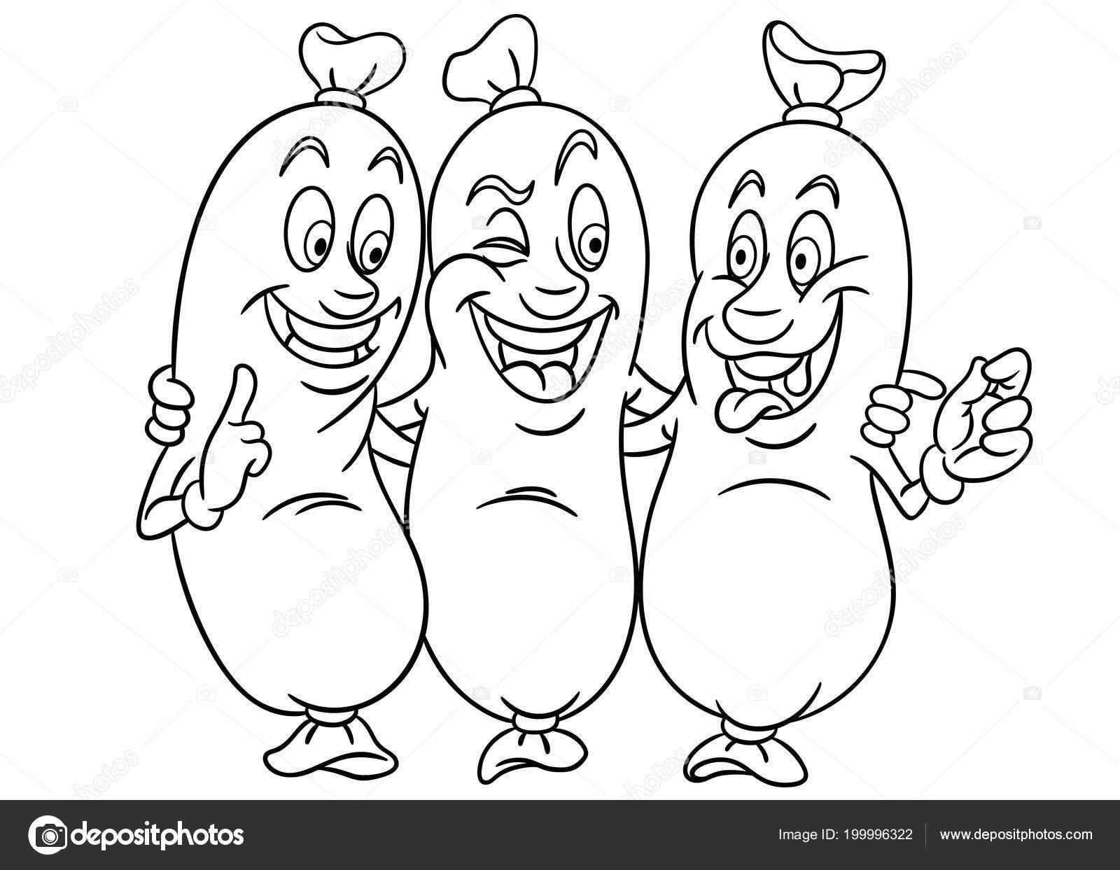 Embutidos Tres Amigos Página Para Colorear Imagen Colorante Libro ...