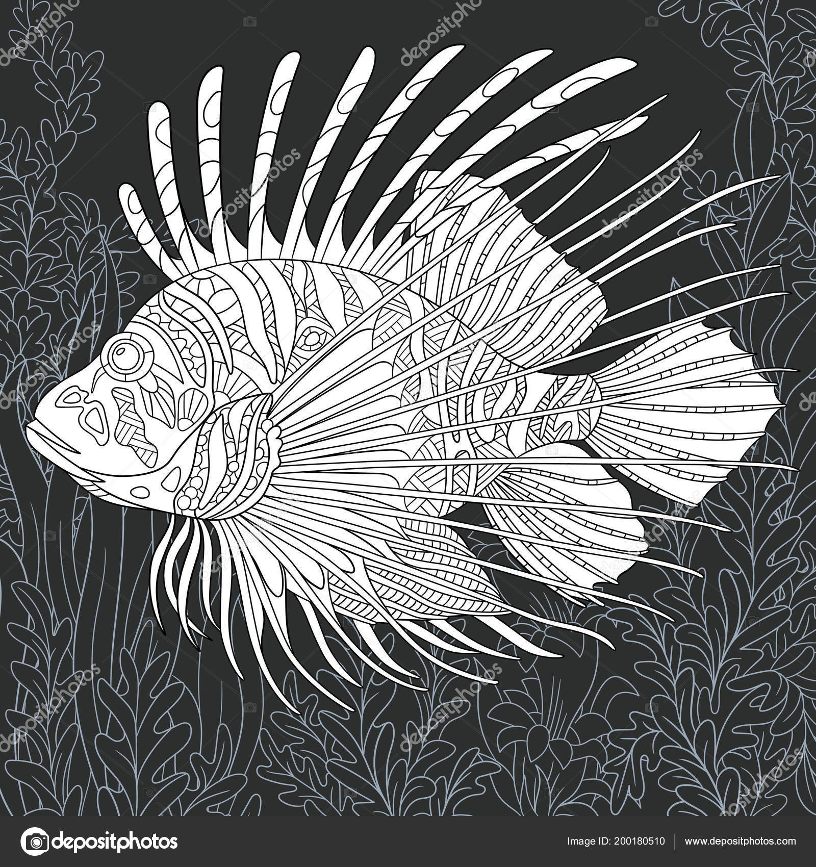 Lion Fish Drawn Line Art Style Ocean Background Black White — Stock ...