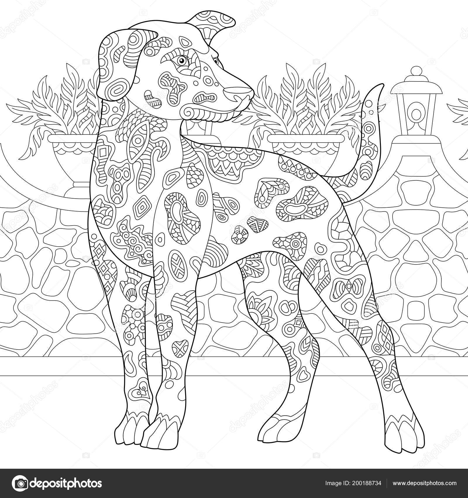 Black And White Cartoon Illustration Of Funny Spotted Puppy Comic ... | 1700x1600