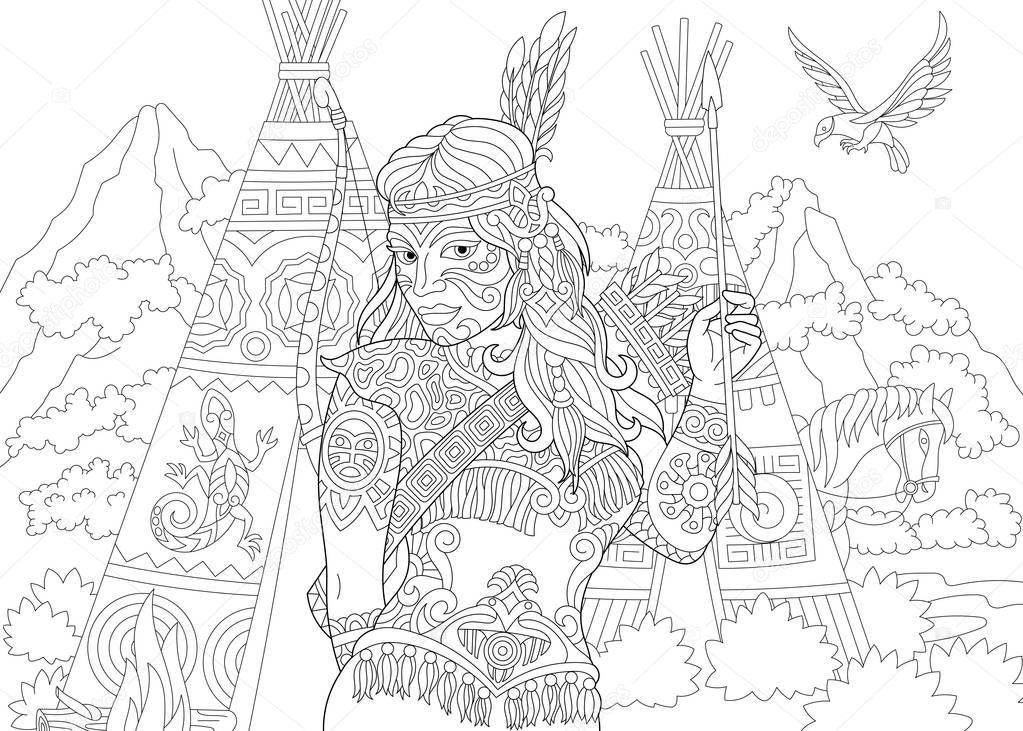 Dibujos: apaches   Indio Americano Nativo Mujer Apache Página Para ...