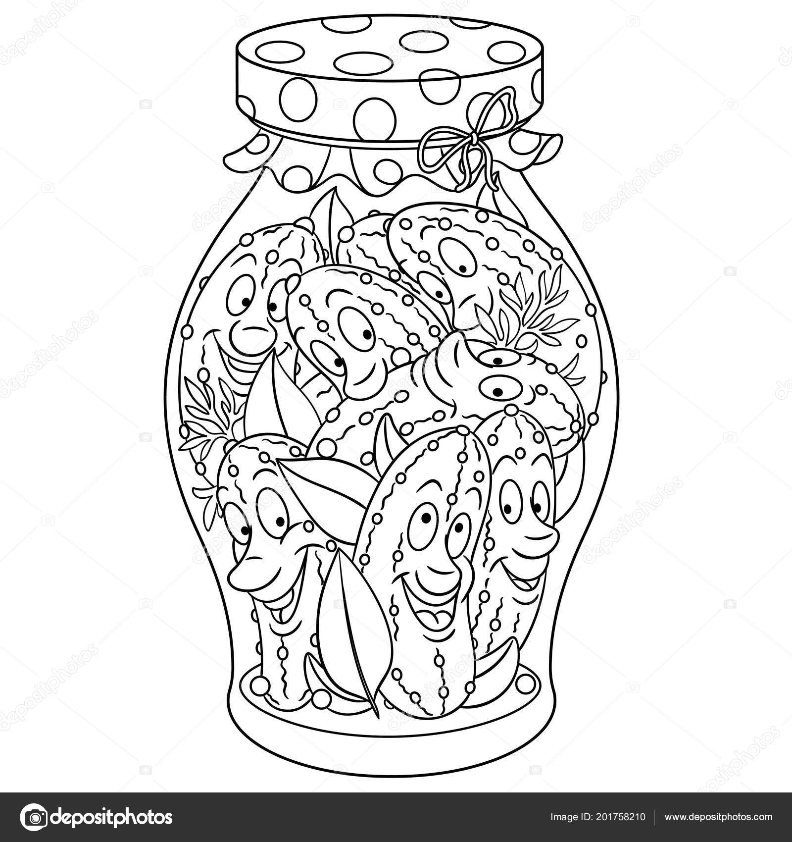 Coloring Page Coloring Book Pickles Jar Pickled Cucumbers Happy