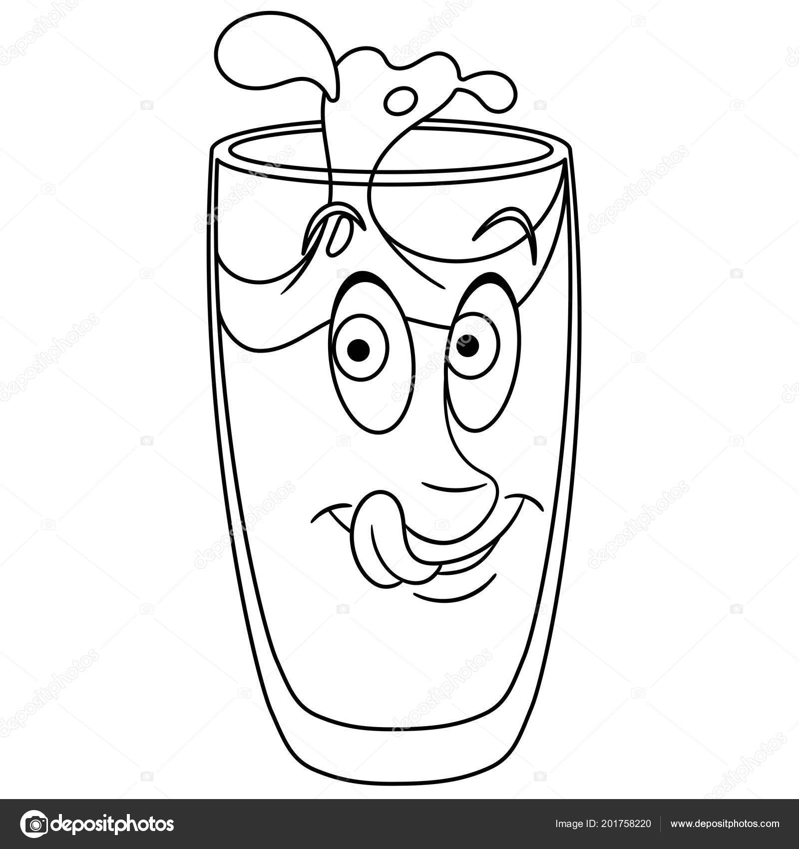 Coloring Page Coloring Book Water Glass Drink Happy Food Concept Vector Image By C Sybirko Vector Stock 201758220