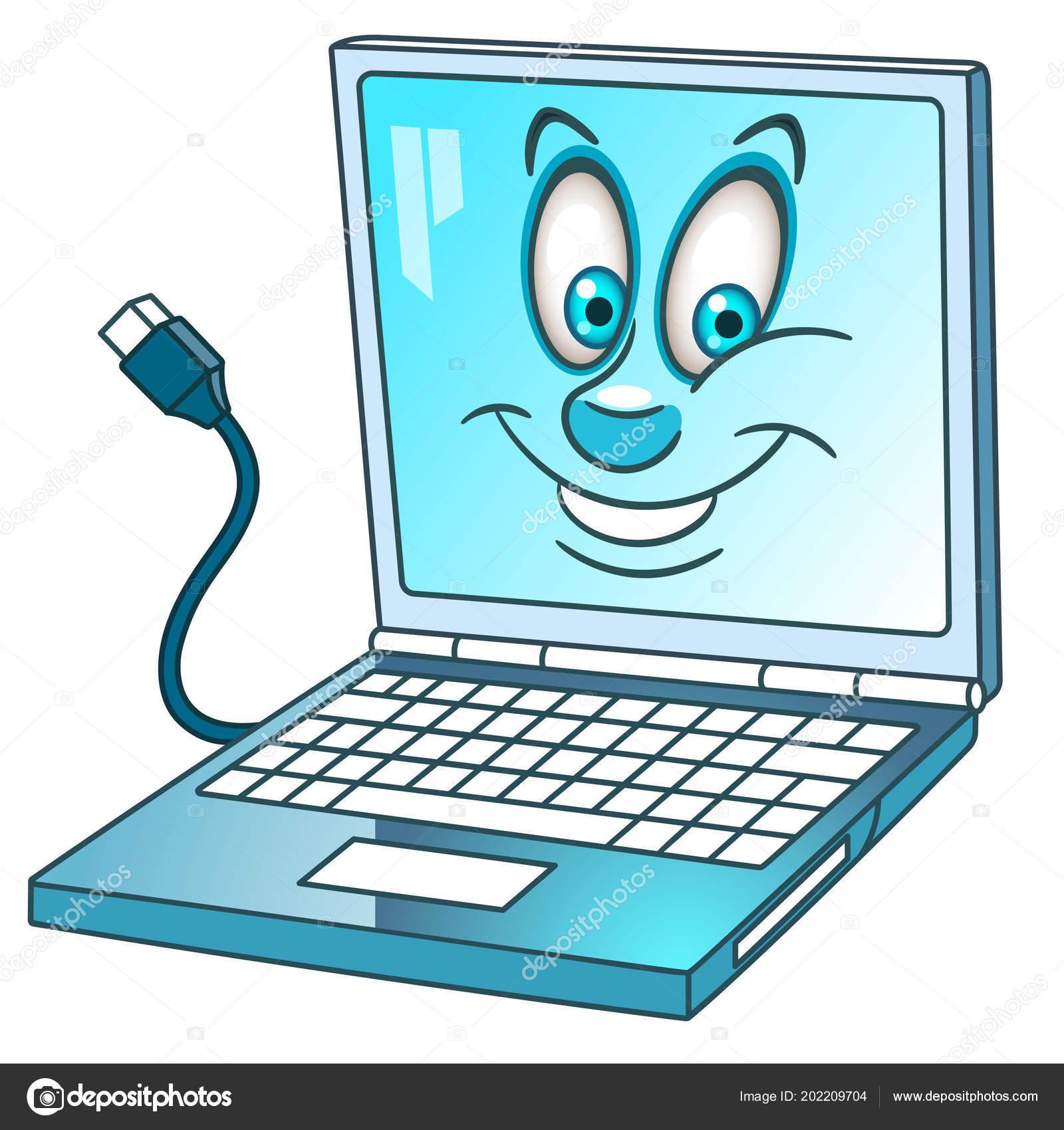 Kleurplaten Computer Kleuren.Laptop Notebook Computer Happy Cartoon Voor Kinderen