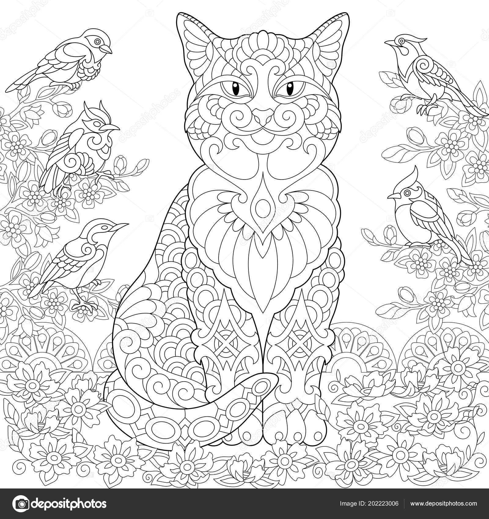 Cat Birds Garden Coloring Page Colouring Picture Book
