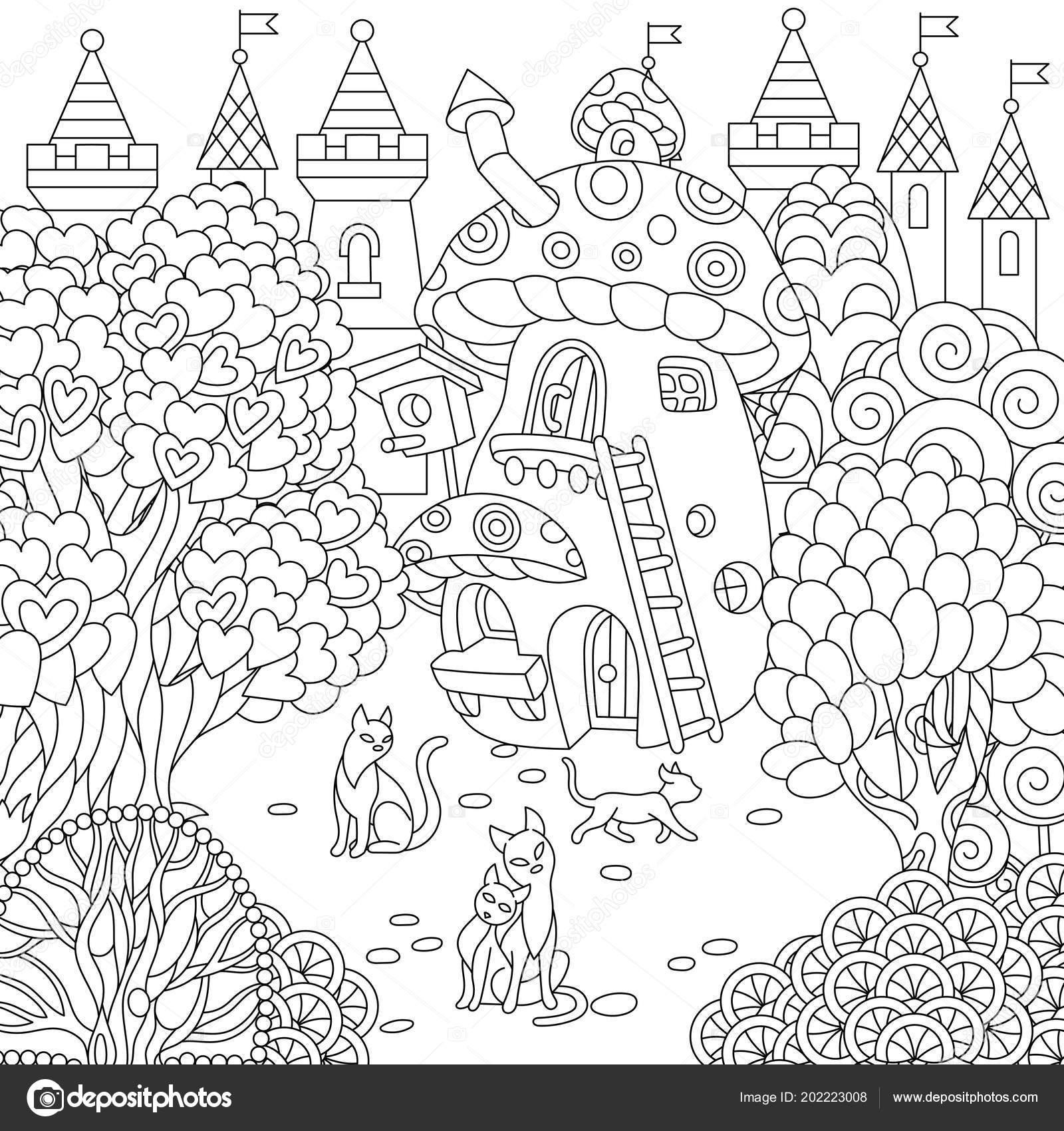Fantasy Town Fairytale Mushroom House Magic Heart Shaped Trees Cats Vector Image By C Sybirko Vector Stock 202223008