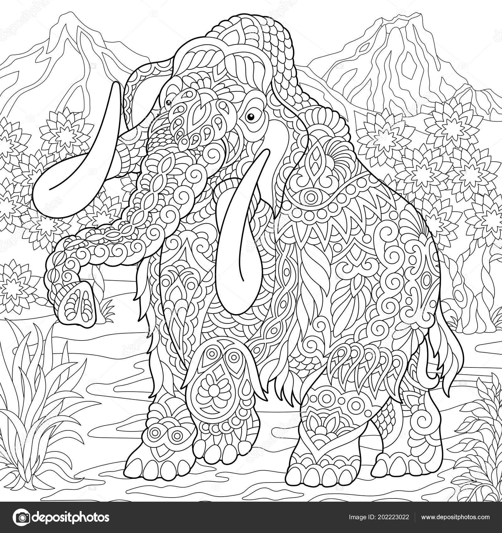 Kleurplaten Over Olifanten.Mammoet Uitgestorven Olifant Van Het Pleistoceen Kleurplaat