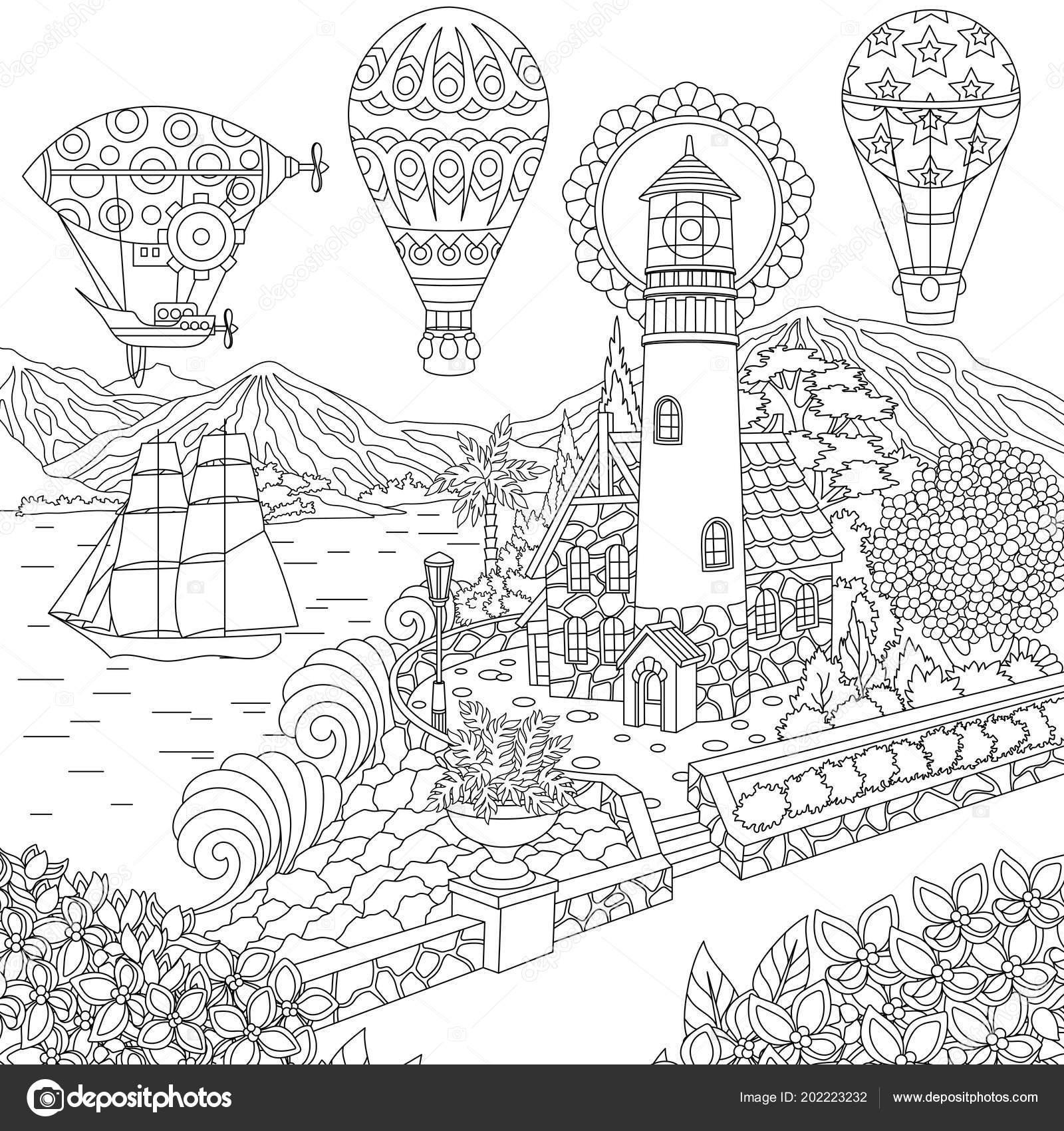 Deniz Feneri Yelkenli Gemi Zeplin Sıcak Hava Balonu Boyama Sayfası