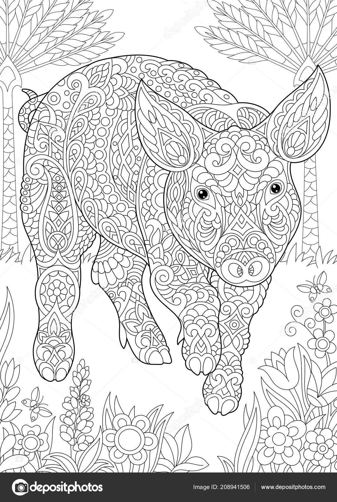 kleurplaat kleurboek kleuren foto met varken schattig
