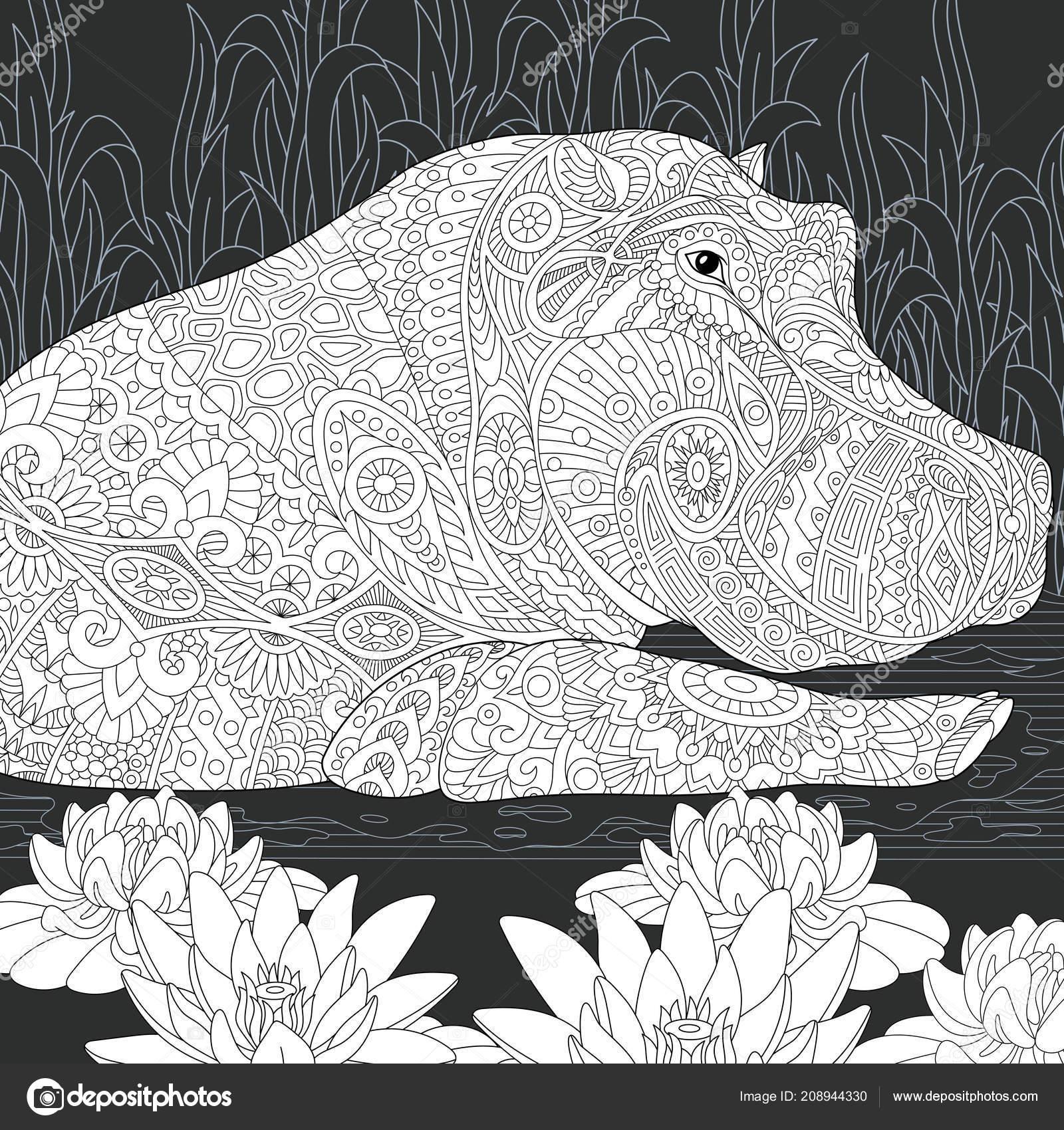 Coloriage Fleur De Nenuphar.Hippo Hippopotame Dessine Dans Style Ligne Art Fleurs Lotus