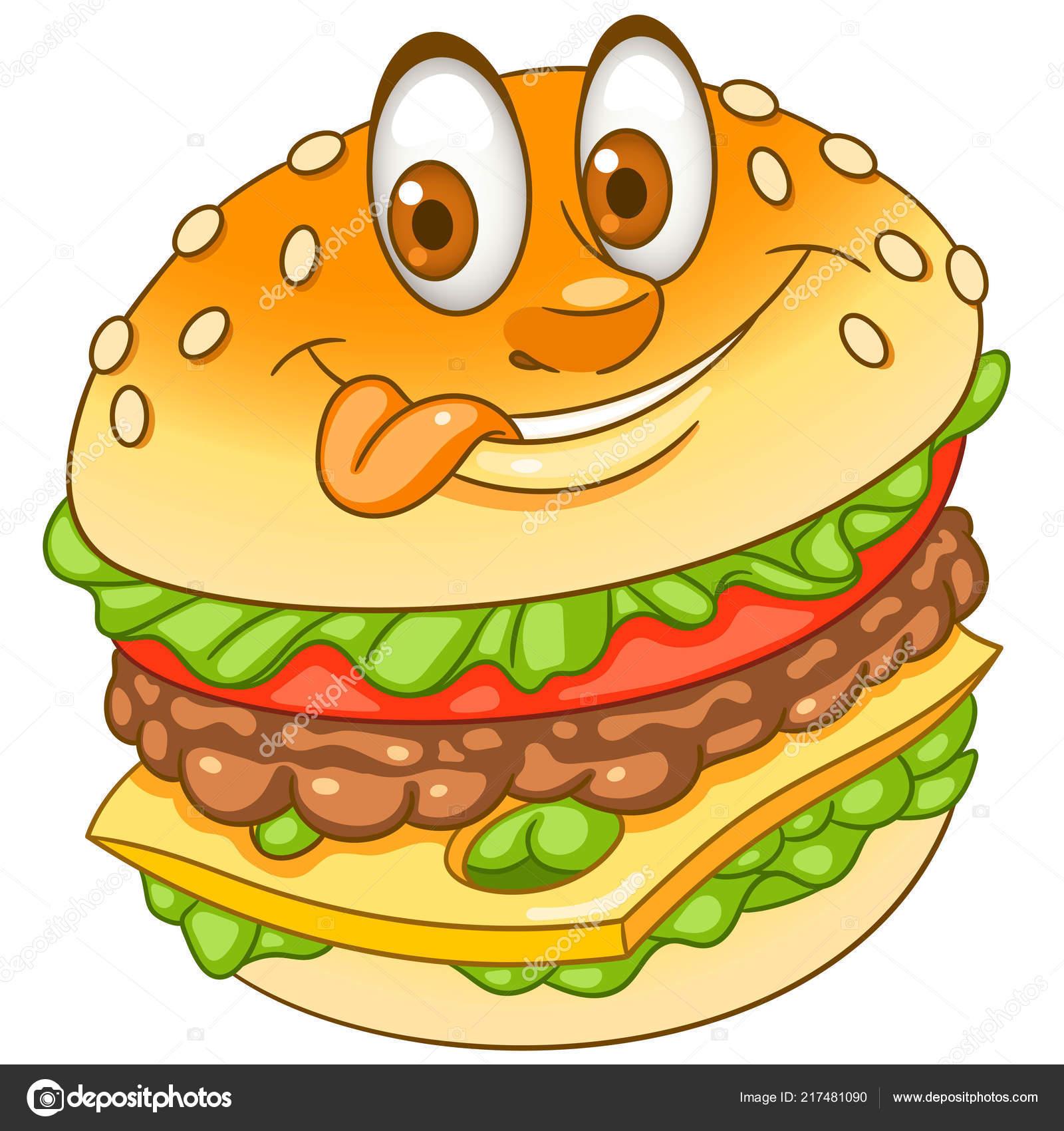 Burger Hamburger Cheeseburger Fast Food Concept Happy Cartoon
