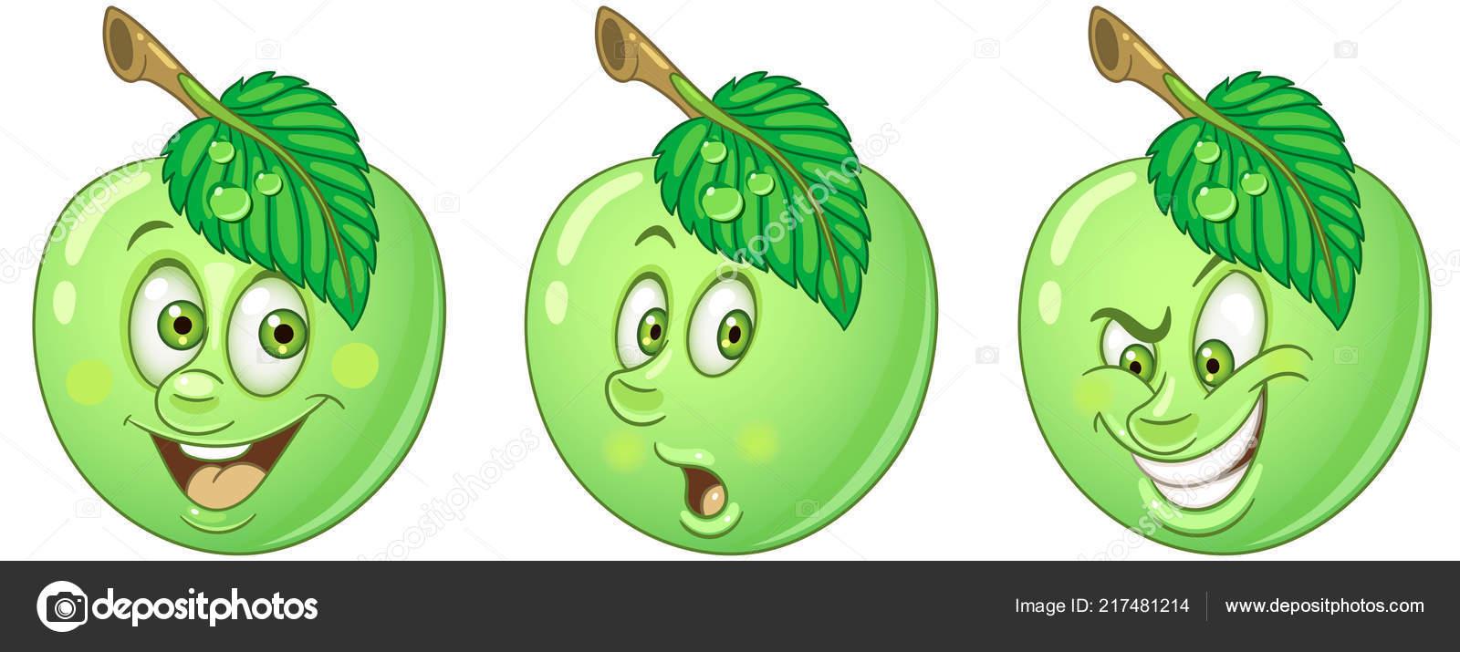 Coloriage Pomme Et Oignon Dessin Anime.Pomme Concept Nourriture Saine Collection Emoticones Emoji