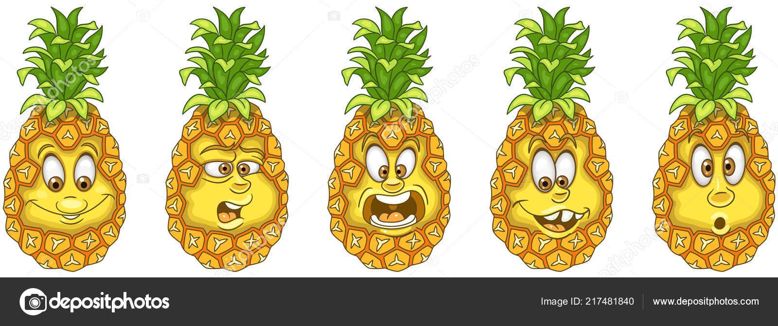 Coloriage Pomme Et Oignon Dessin Anime.Ananas Concept Gout Fruits Collection Emoticones Emoji