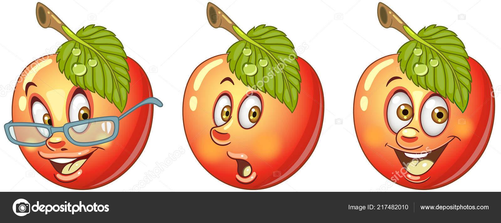 Pomme Concept Nourriture Saine Collection Emoticones Emoji