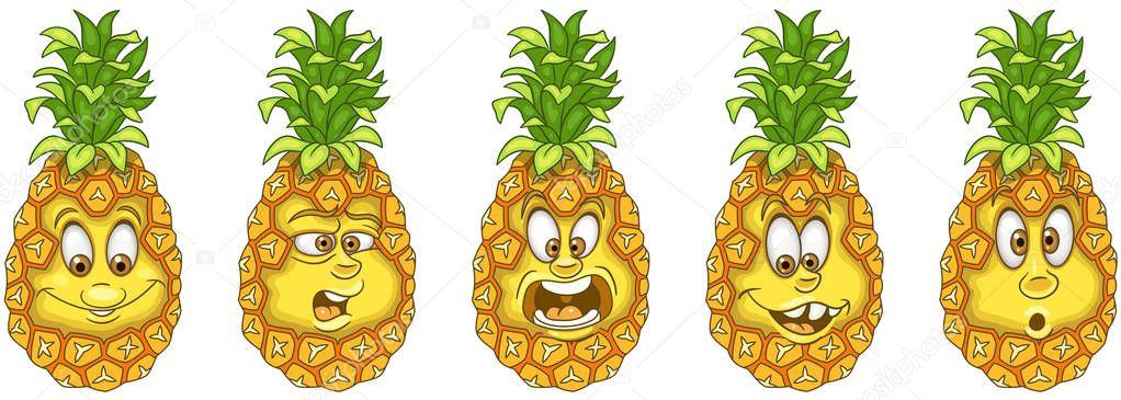 Coloriage Emoji Ananas.Ananas Concept Gout Fruits Collection Emoticones Emoji Personnages