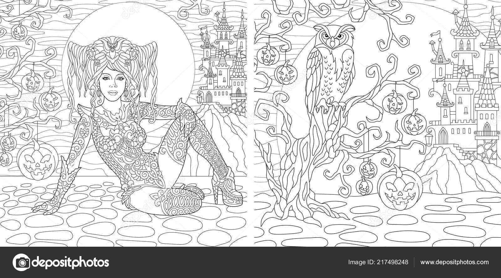 Halloween Coloring Pages Coloring Book Adults Gothic Girl Horror