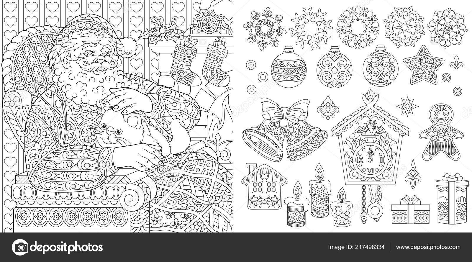 новый год рождество раскраски страниц книжка раскраска